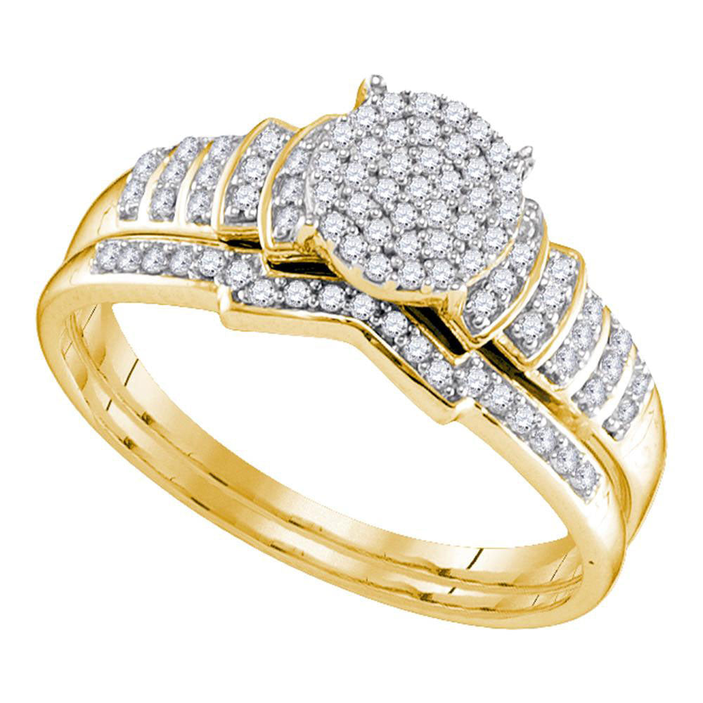 Yellow-tone Sterling Silver Womens Round Diamond Cluster Bridal Wedding Engagement Ring Band Set .25ct
