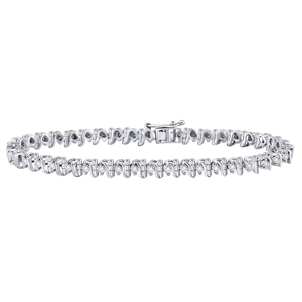 Sterling Silver Womens Round Diamond S Link Tennis Bracelet .35ct