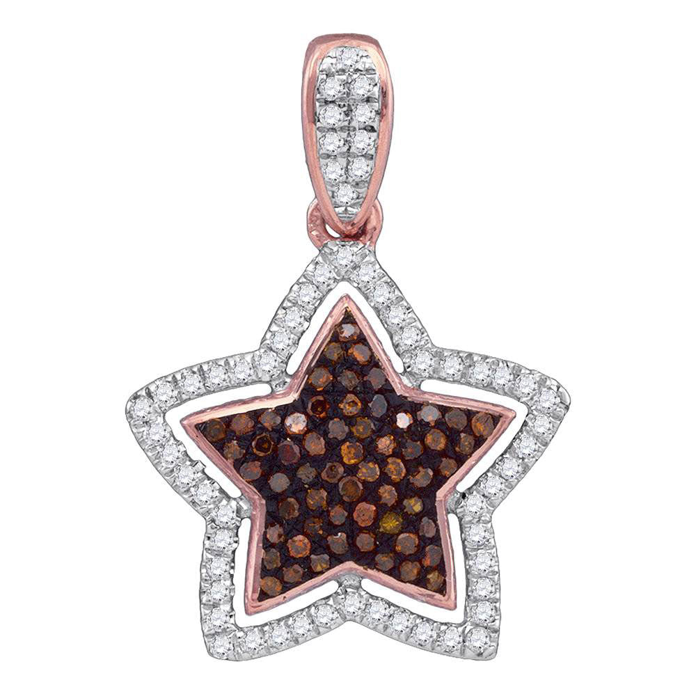 10kt Rose Gold Womens Round Red Color Enhanced Diamond Star Pendant .25ct