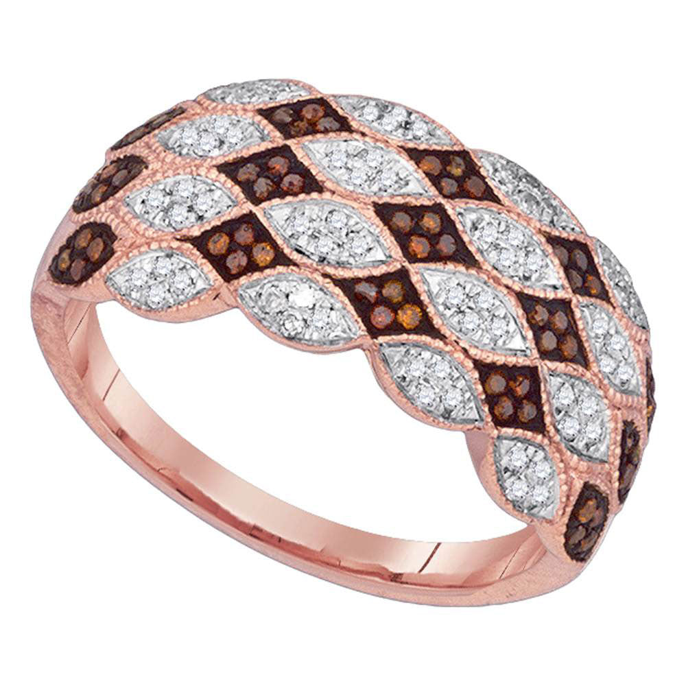 10kt Rose Gold Womens Round Red Color Enhanced Diamond Fashion Ring .35ct