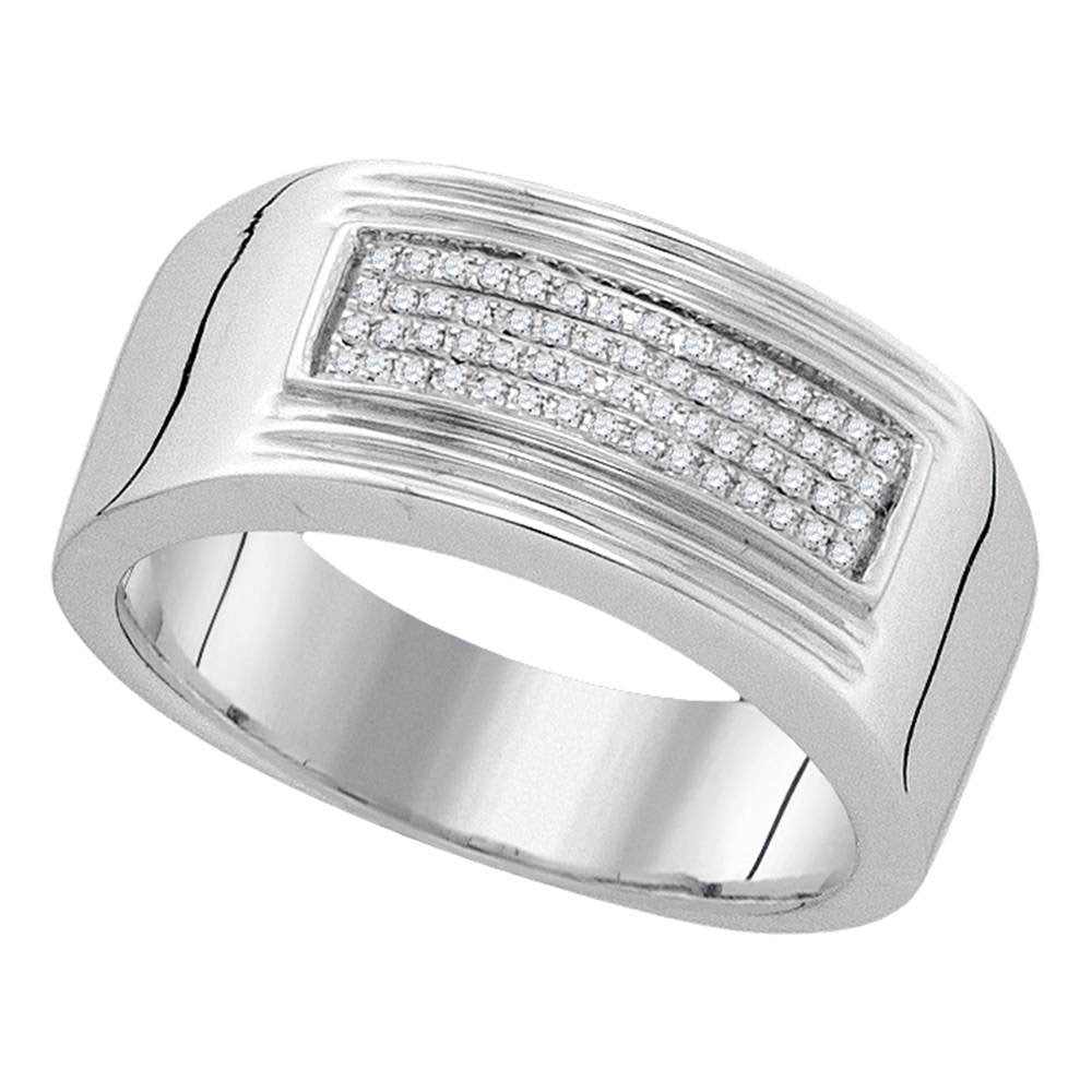 Sterling Silver Mens Round Diamond Rectangle Cluster Band Ring .17ct