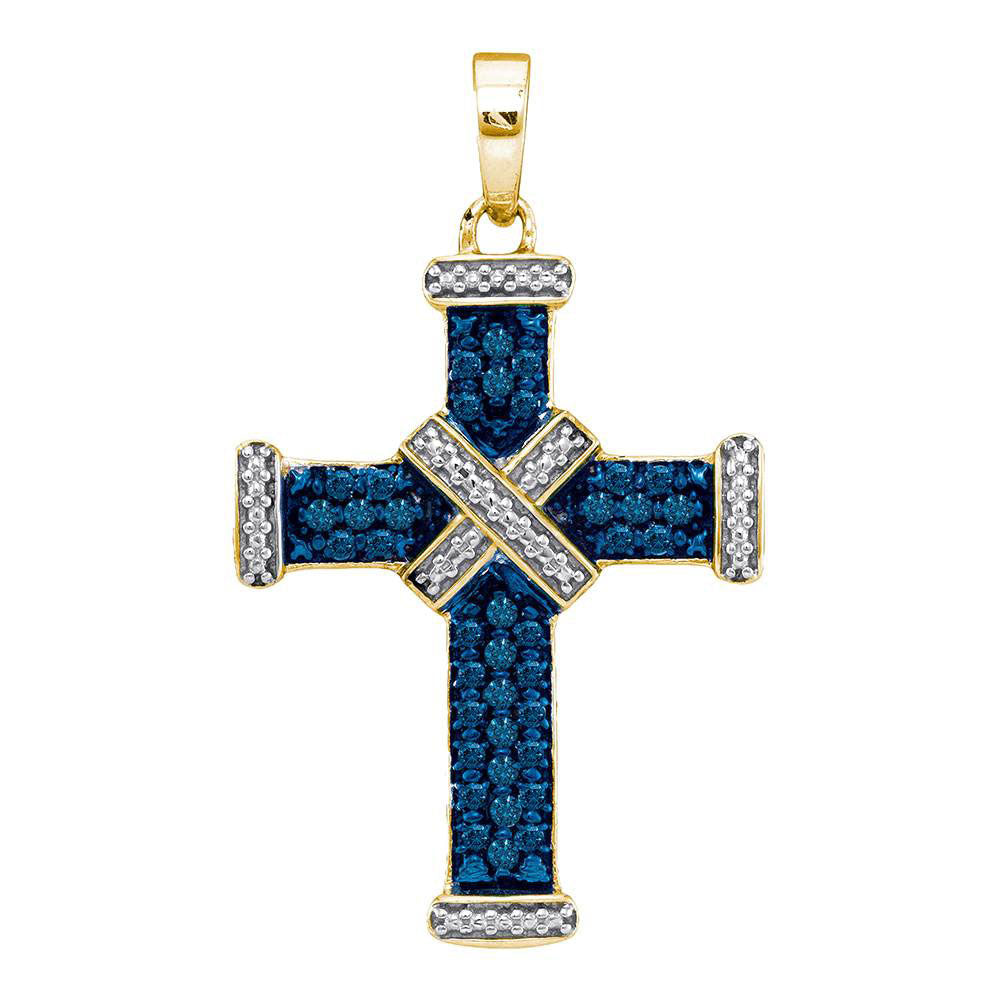 Yellow-tone Sterling Silver Womens Round Blue Color Enhanced Diamond Cross Religious Pendant .25ct