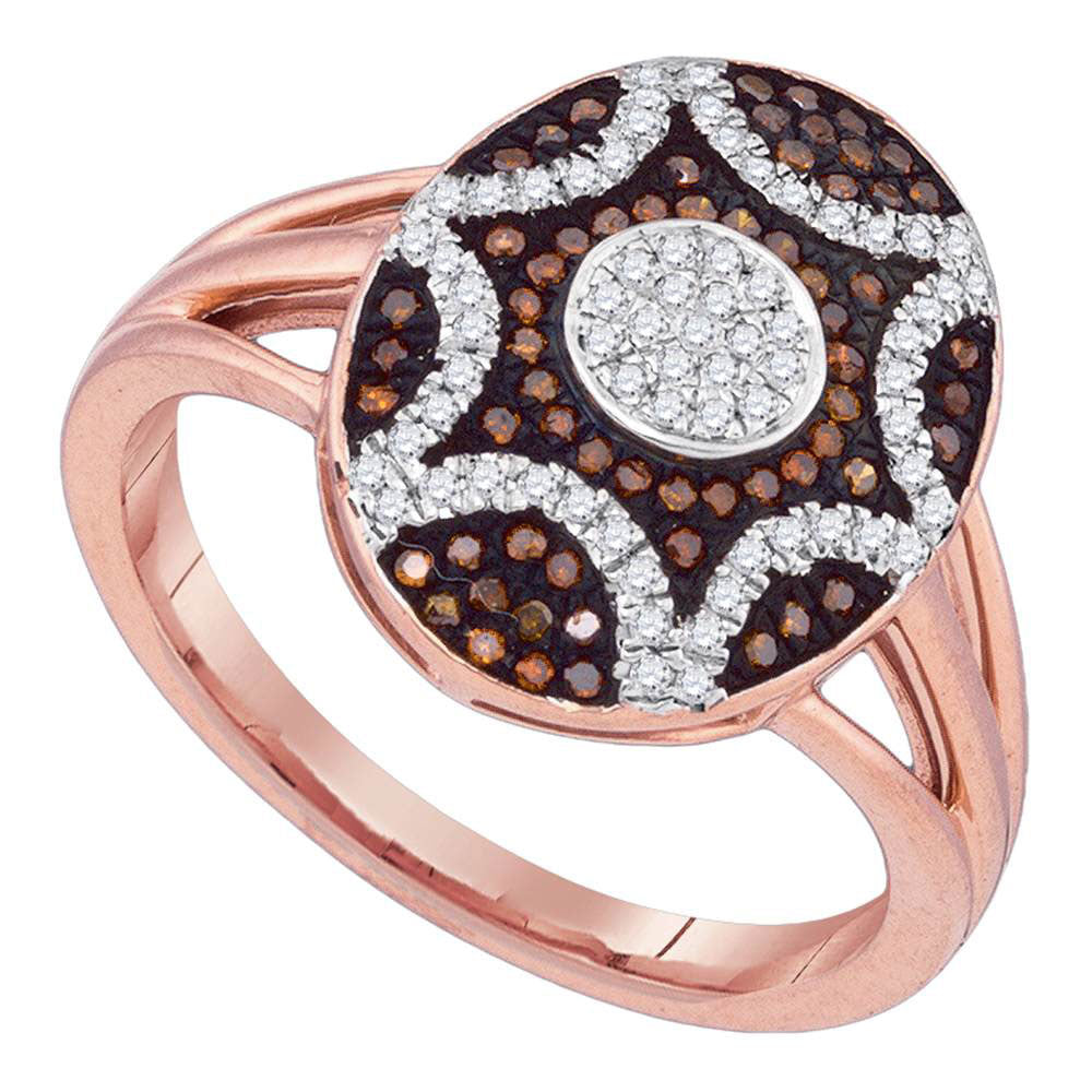 10kt Rose Gold Womens Round Red Color Enhanced Diamond Oval Starburst Ring .35ct