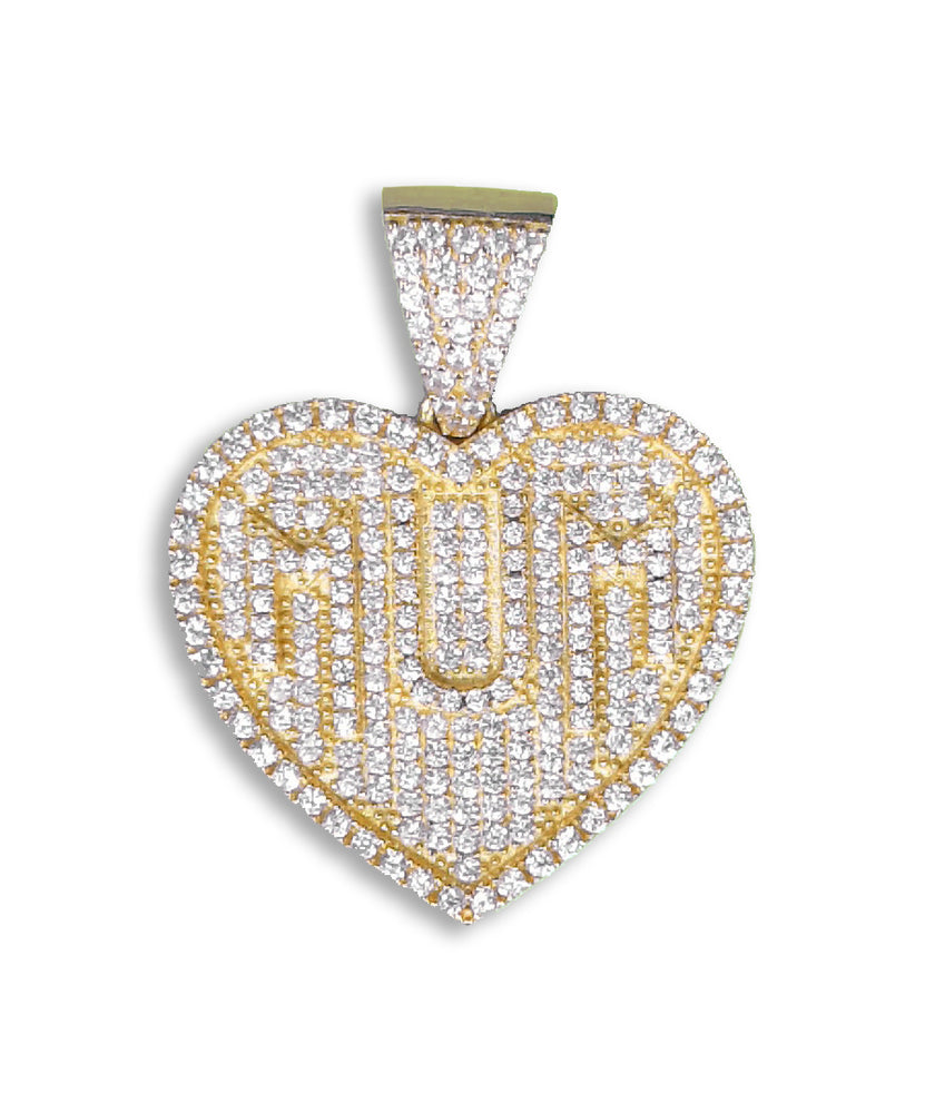 Silver Mum Heart Pendant (Gold Plated) set with Cubic Zirconia