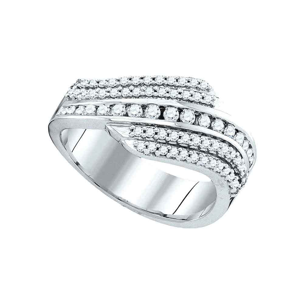 10kt White Gold Womens Round Diamond Fashion Band Ring .50ct
