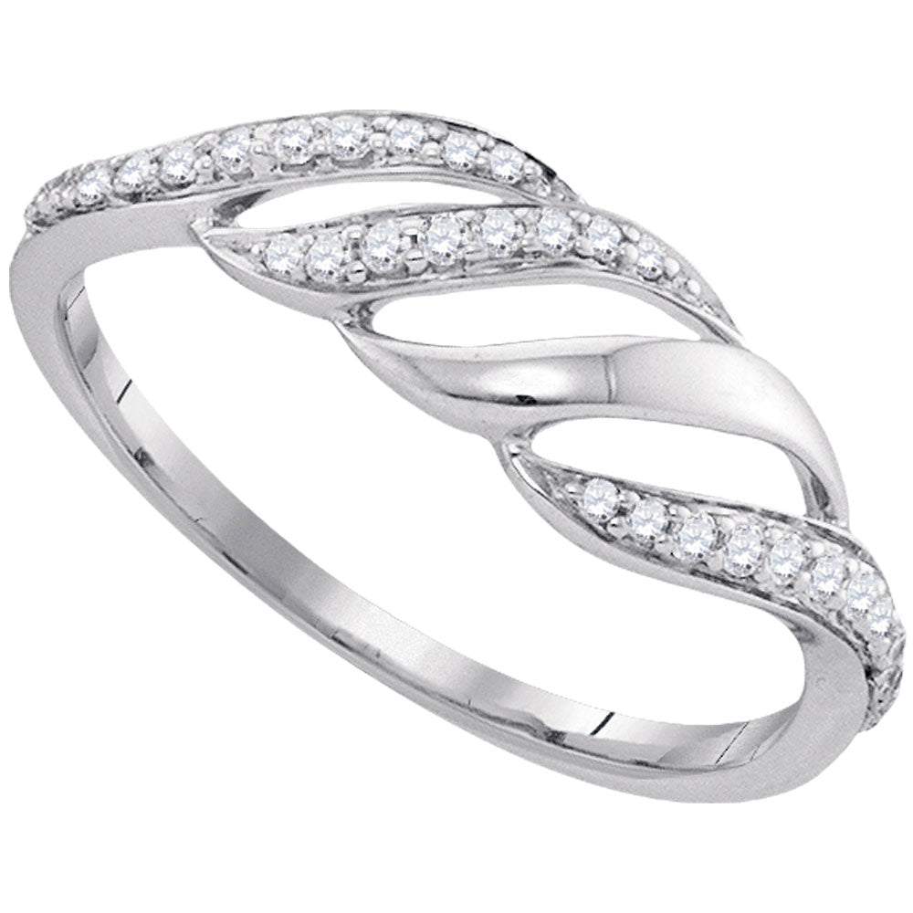 10kt White Gold Womens Round Diamond Cascading Open Strand Band Ring .17ct