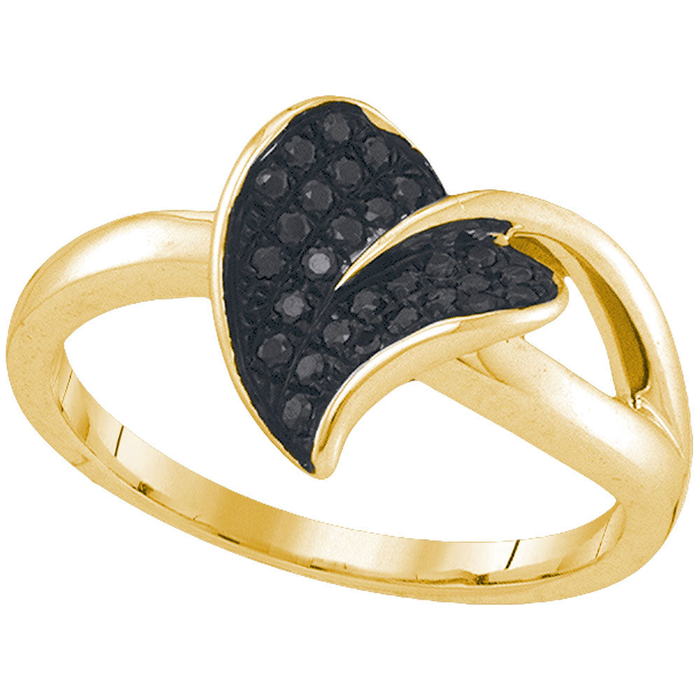10kt Yellow Gold Womens Round Black Color Enhanced Diamond Leaf Petal Ring .17ct