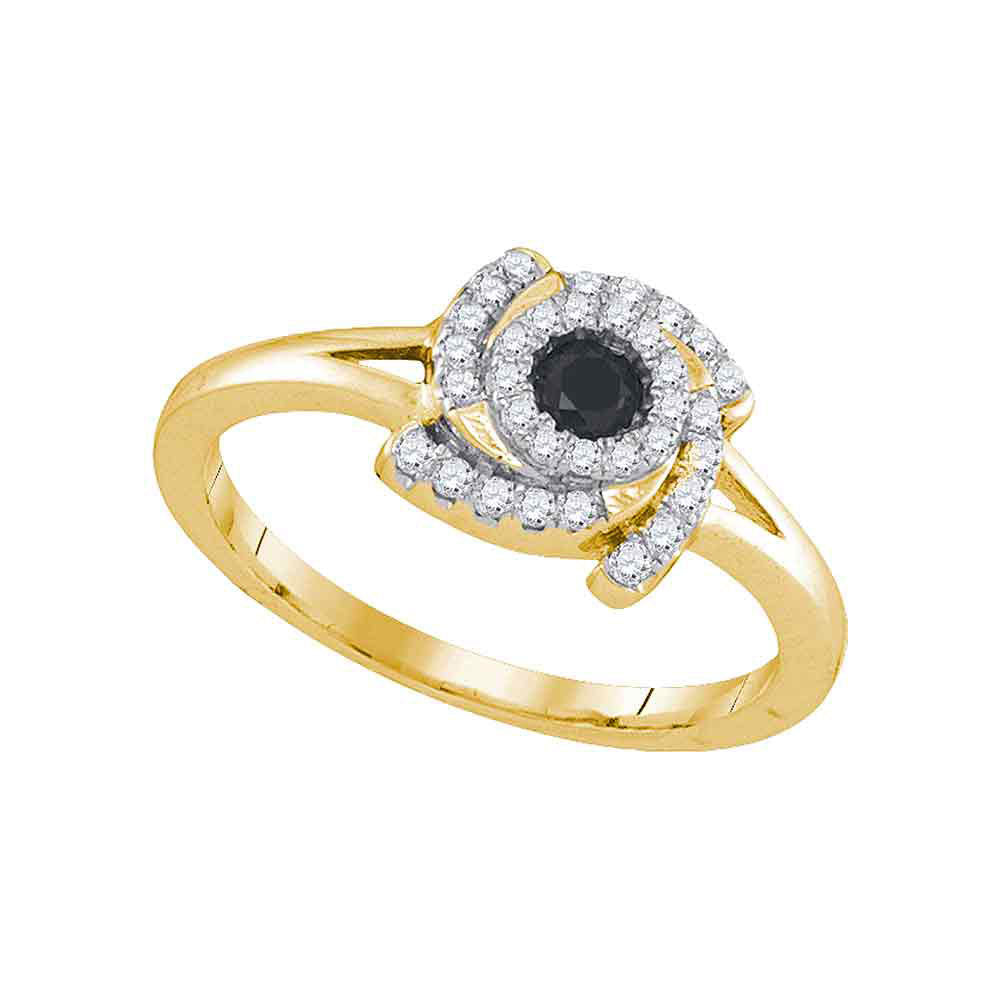 10kt Yellow Gold Womens Round Black Color Enhanced Diamond Solitaire Ring .35ct