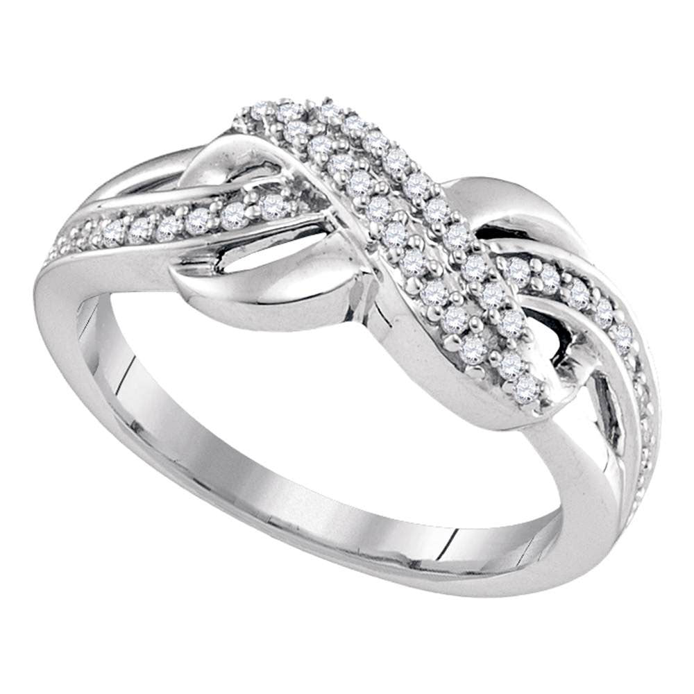 Sterling Silver Womens Round Diamond Infinity Braid Band .15ct