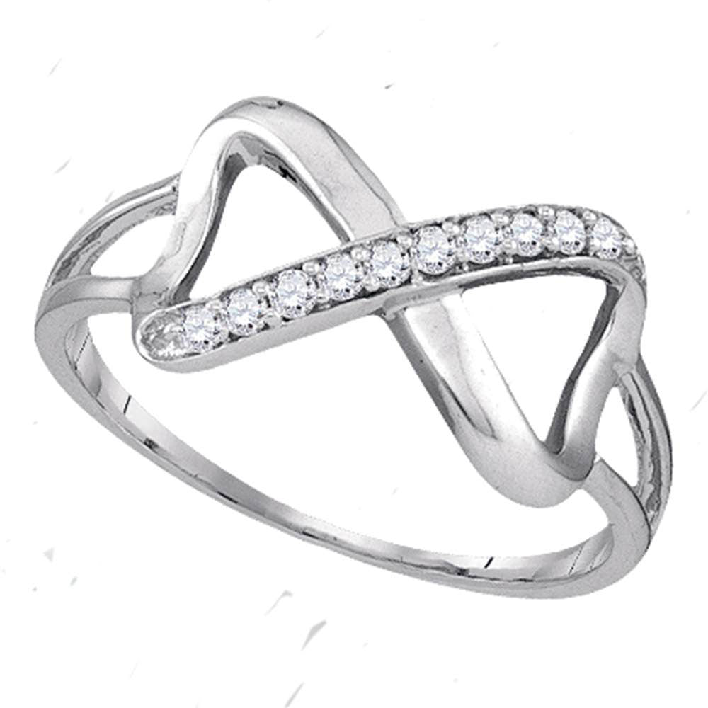 Sterling Silver Womens Round Diamond Infinity Fashion Band Ring .10ct