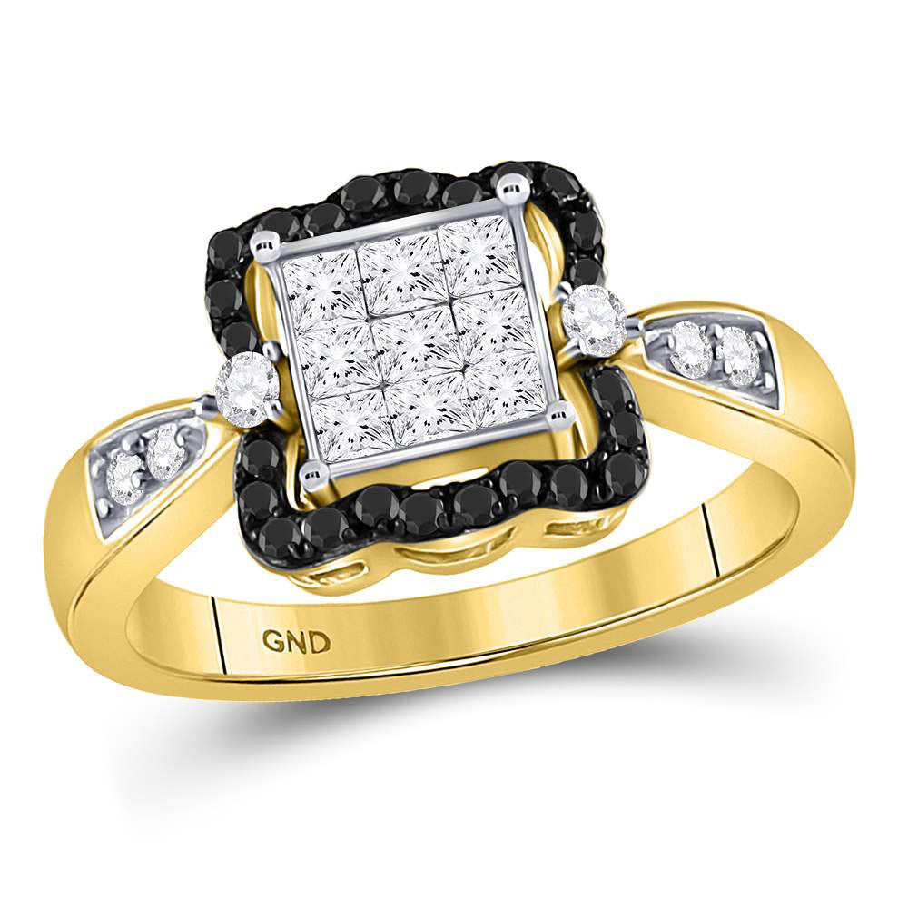 10kt Yellow Gold Womens Round Black Color Enhanced Diamond Cluster Ring .75ct