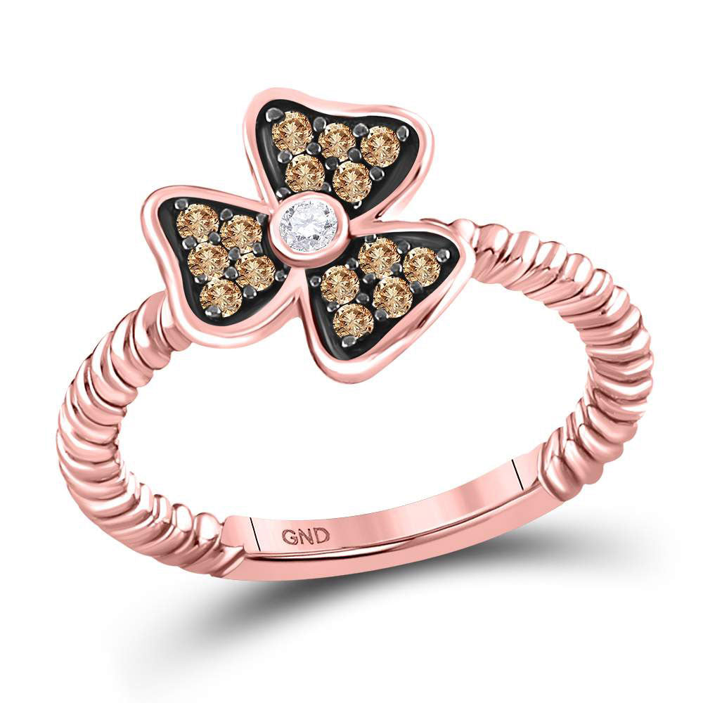 10kt Rose Gold Womens Round Red Color Enhanced Diamond Flower Petals Ring .25ct