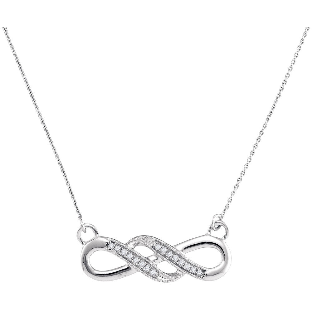 10kt White Gold Womens Round Diamond Infinity Pendant Necklace 0.05ct
