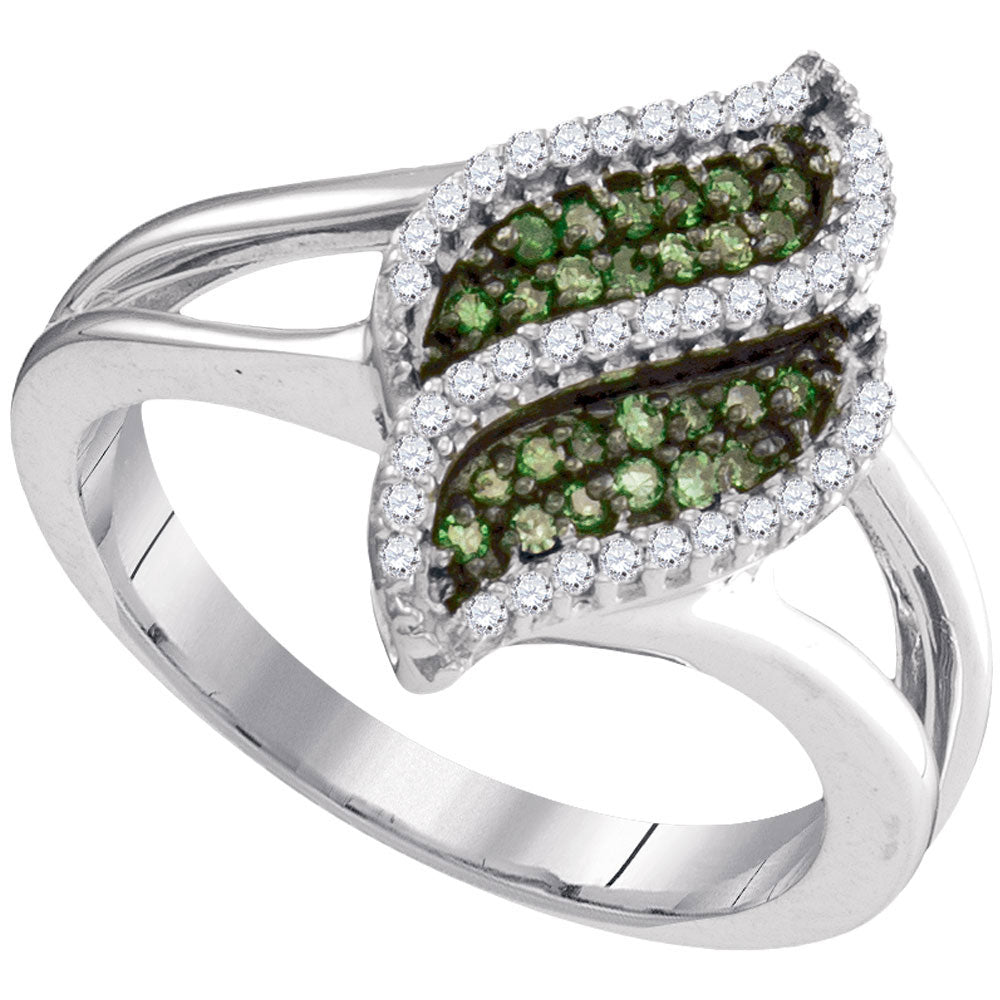 10kt White Gold Womens Round Green Color Enhanced Diamond Cascading Fashion Ring .35ct