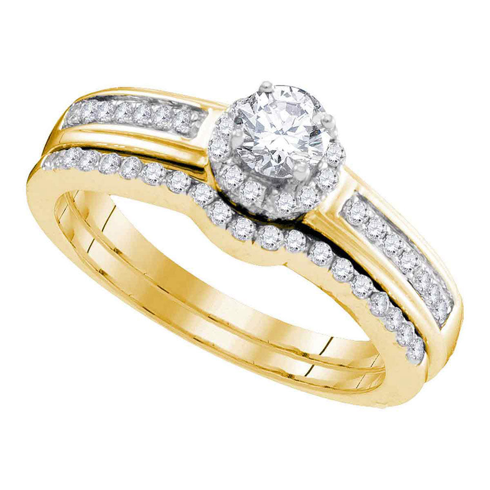 10kt Yellow Gold Womens Round Diamond Bridal Wedding Engagement Ring Band Set .50ct