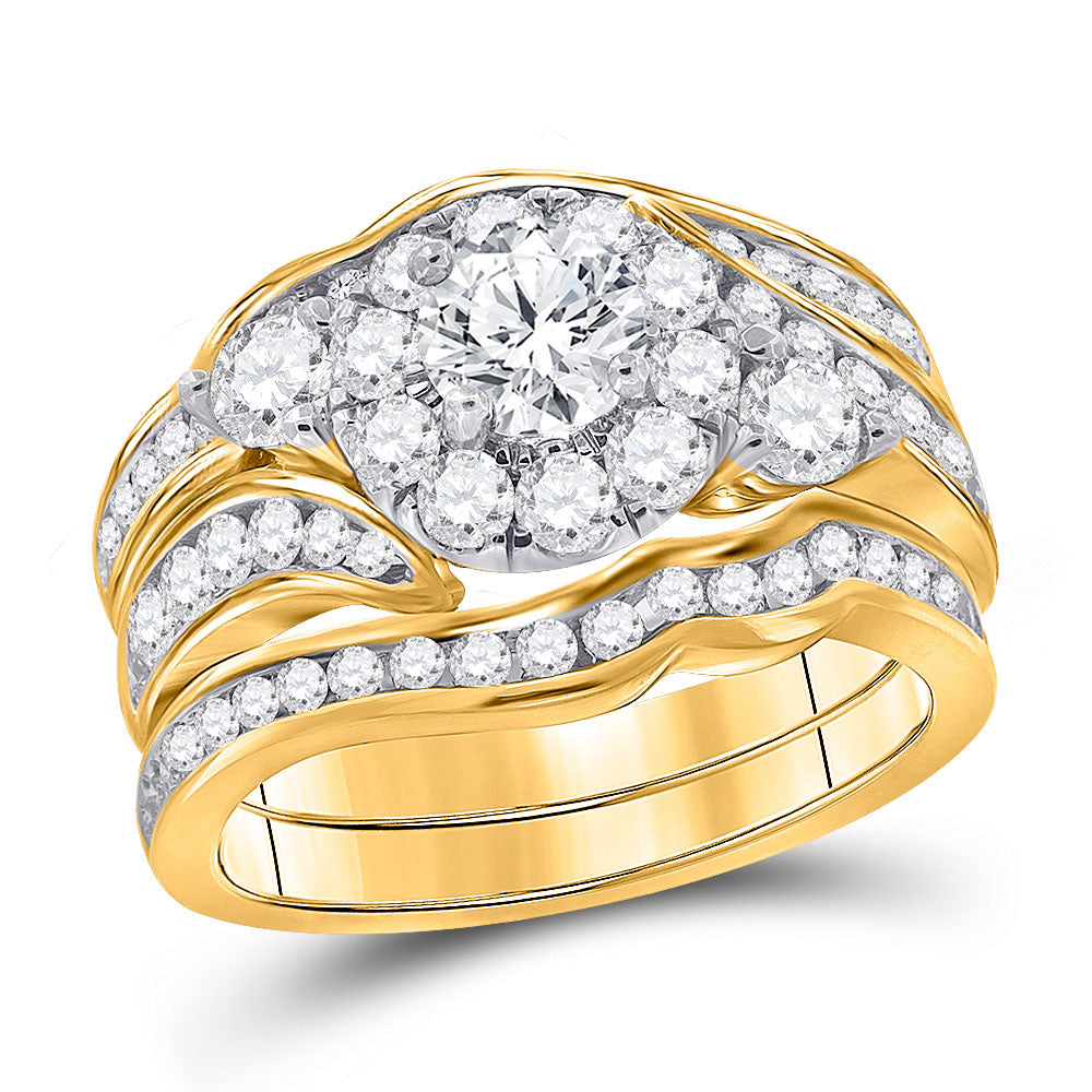 14kt Yellow Gold Womens Round Diamond Bridal Wedding Engagement Ring Band Set 2.00ct
