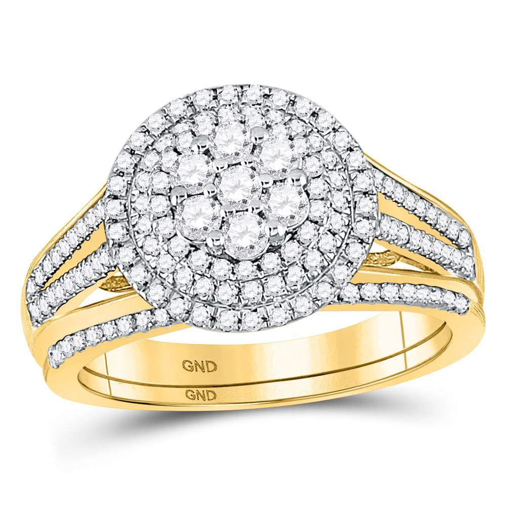 10kt Yellow Gold Womens Round Diamond Flower Cluster Bridal Wedding Engagement Ring Band Set .88ct