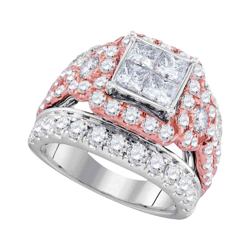 14kt White Gold Womens Princess Diamond Cluster Rose-tone Bridal Wedding Engagement Ring 4.00ct