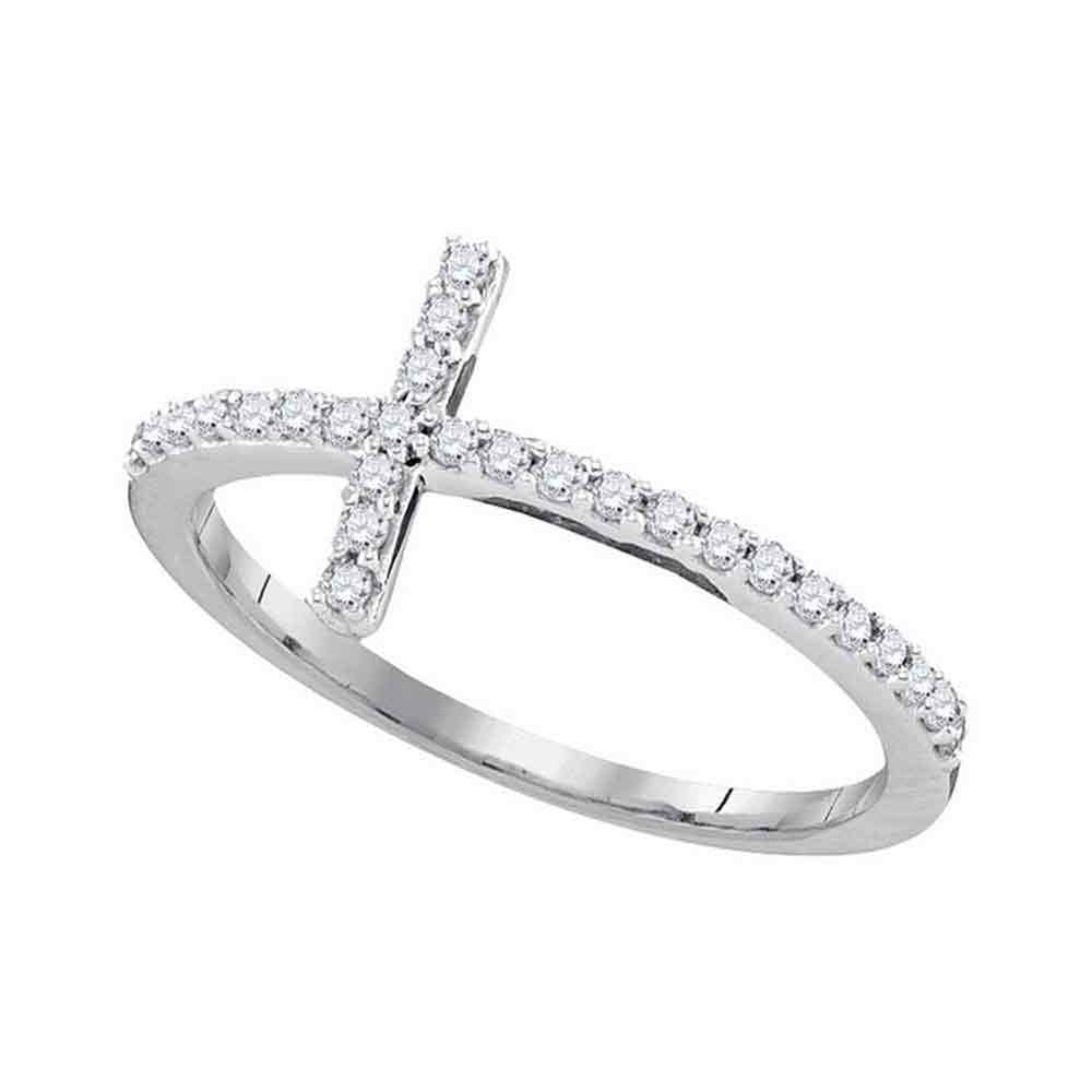 10kt White Gold Womens Round Diamond Cross Religious Band Ring .15ct