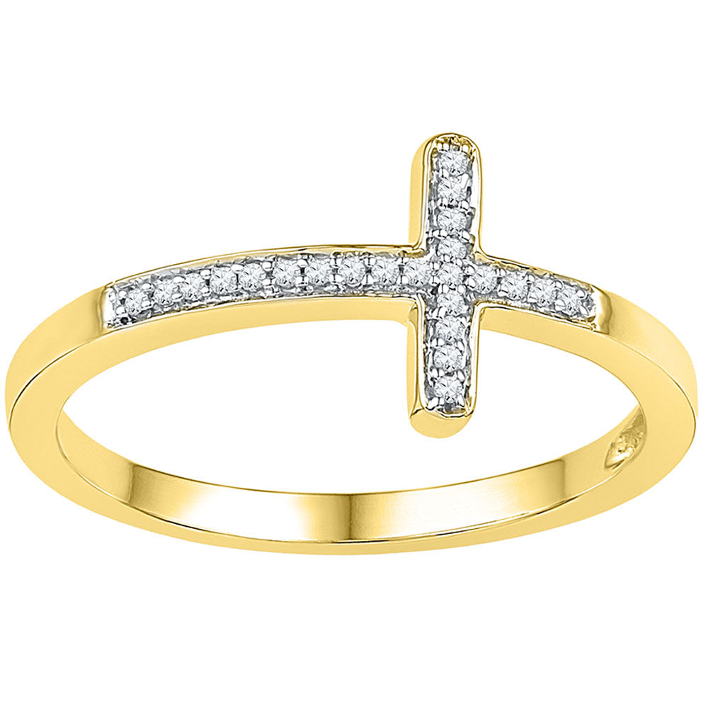 10kt Yellow Gold Womens Round Diamond Cross Religious Band Ring 0.05ct