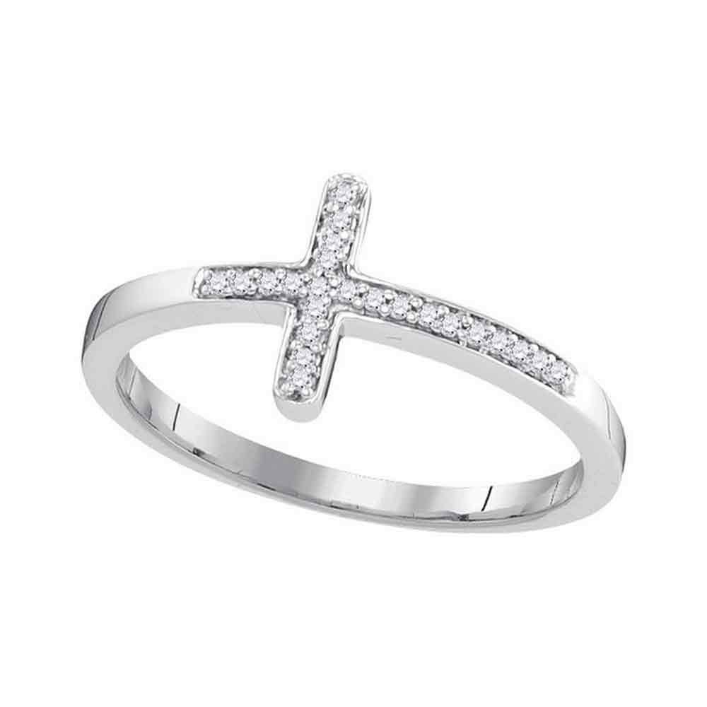 10kt White Gold Womens Round Diamond Cross Religious Band Ring 0.05ct