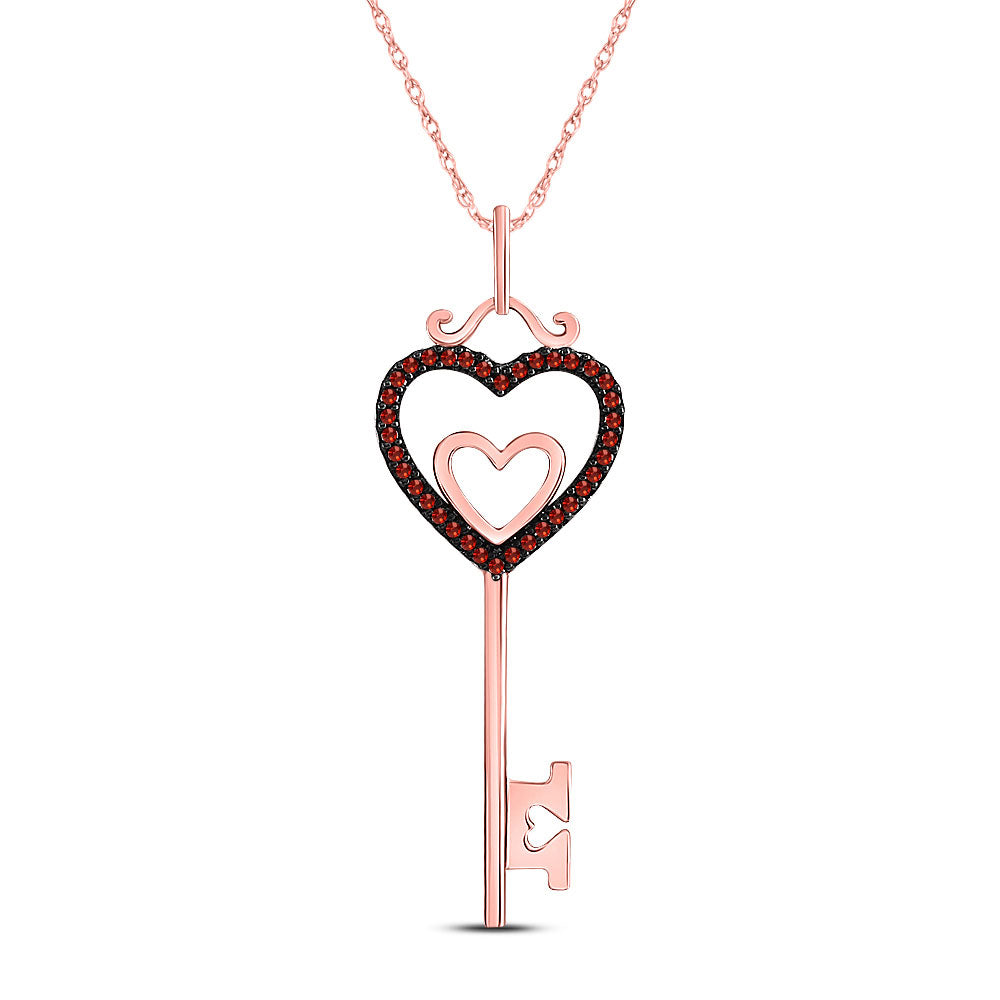 10kt Rose Gold Womens Round Red Color Enhanced Diamond Key Love Heart Pendant .10ct
