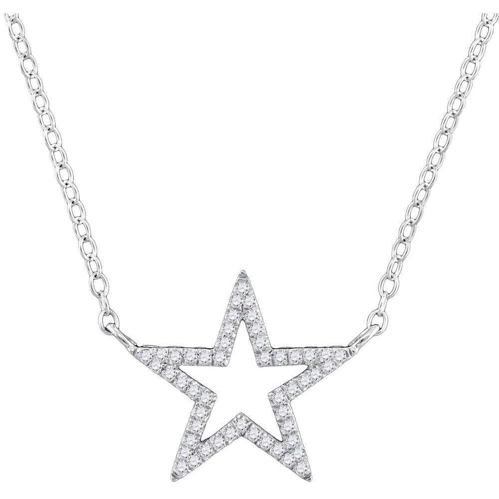 "10kt White Gold Womens Round Diamond Star Outline Pendant Necklace with 18"" Chain .13ct"