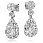 Pear Shape Diamond Cluster Earrings 1.90ct