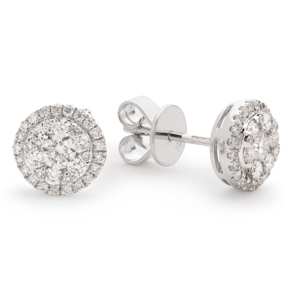 Round Halo Cluster Earrings 1.30ct