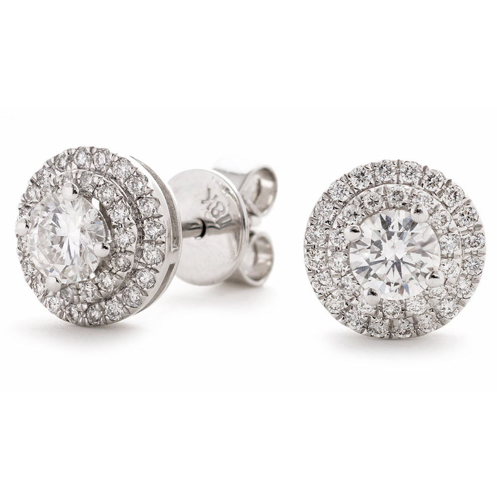 Round Double Halo Studs 0.75ct