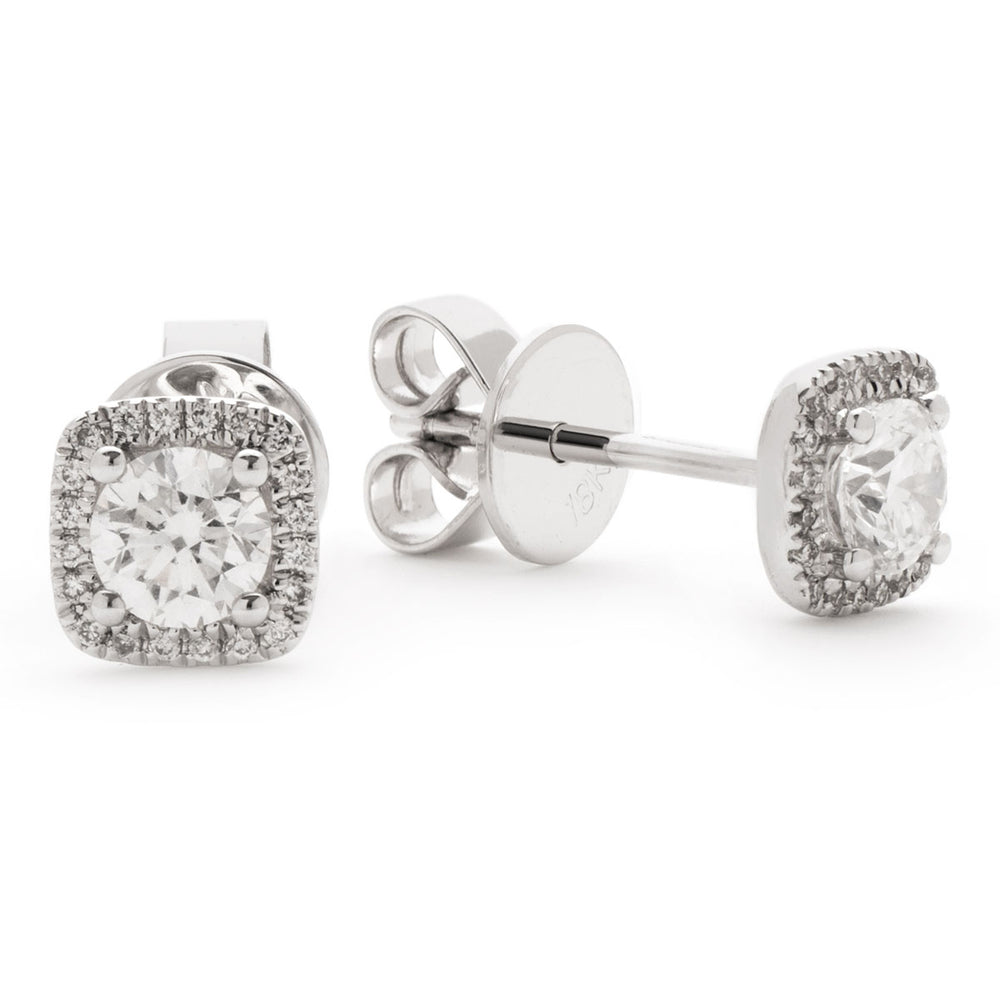 Cushion Shape Halo Studs 0.60ct