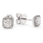 Cushion Shape Halo Studs 0.75ct