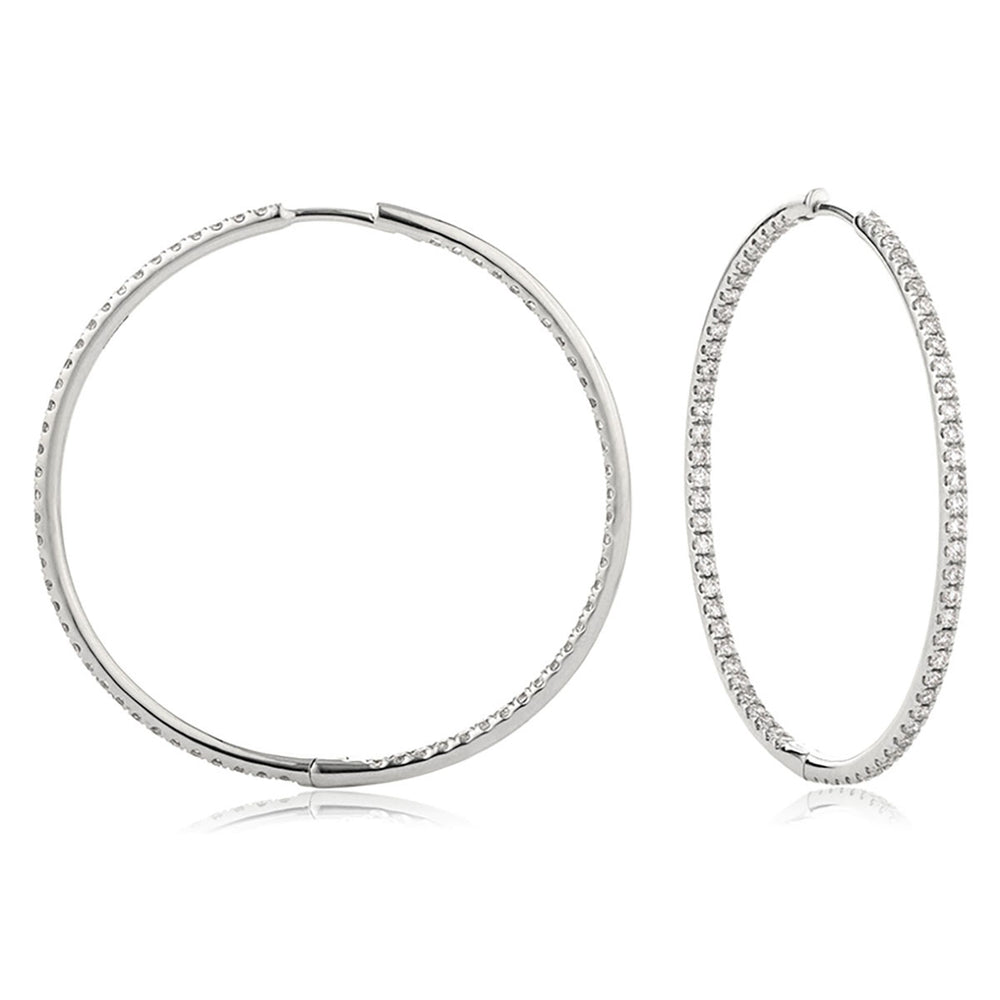 Micro Pave Hoop Earrings 1.10ct