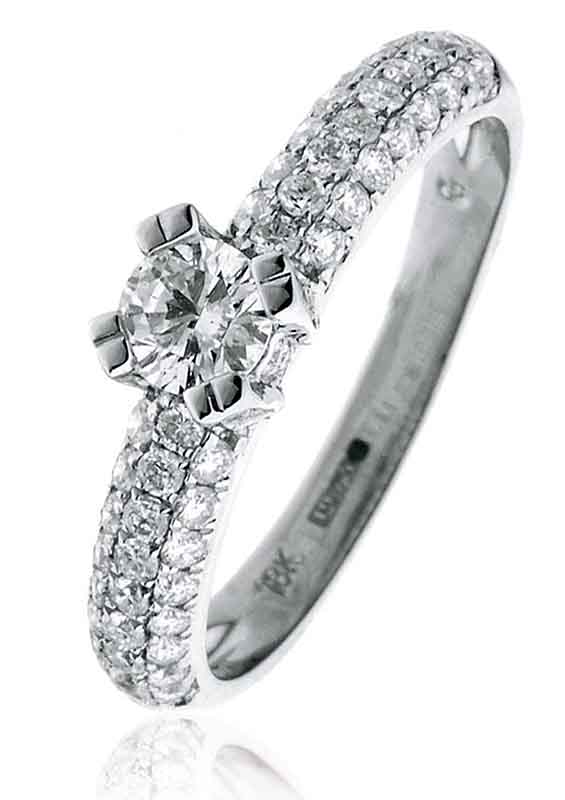 Diamond Engagement Ring With Pave Set Shoulders 0.80ct