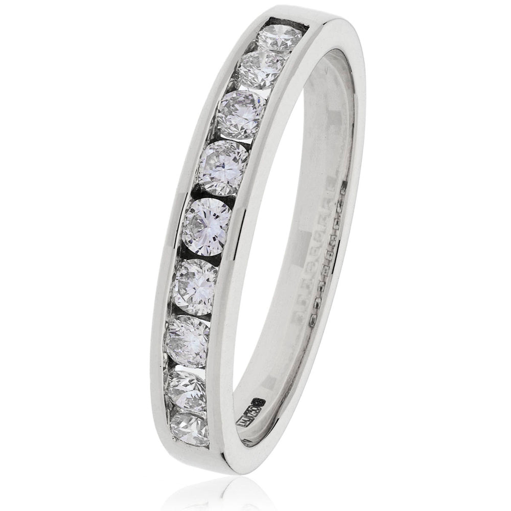 Channel Set Baguette Diamond Half Eternity Ring 0.50ct