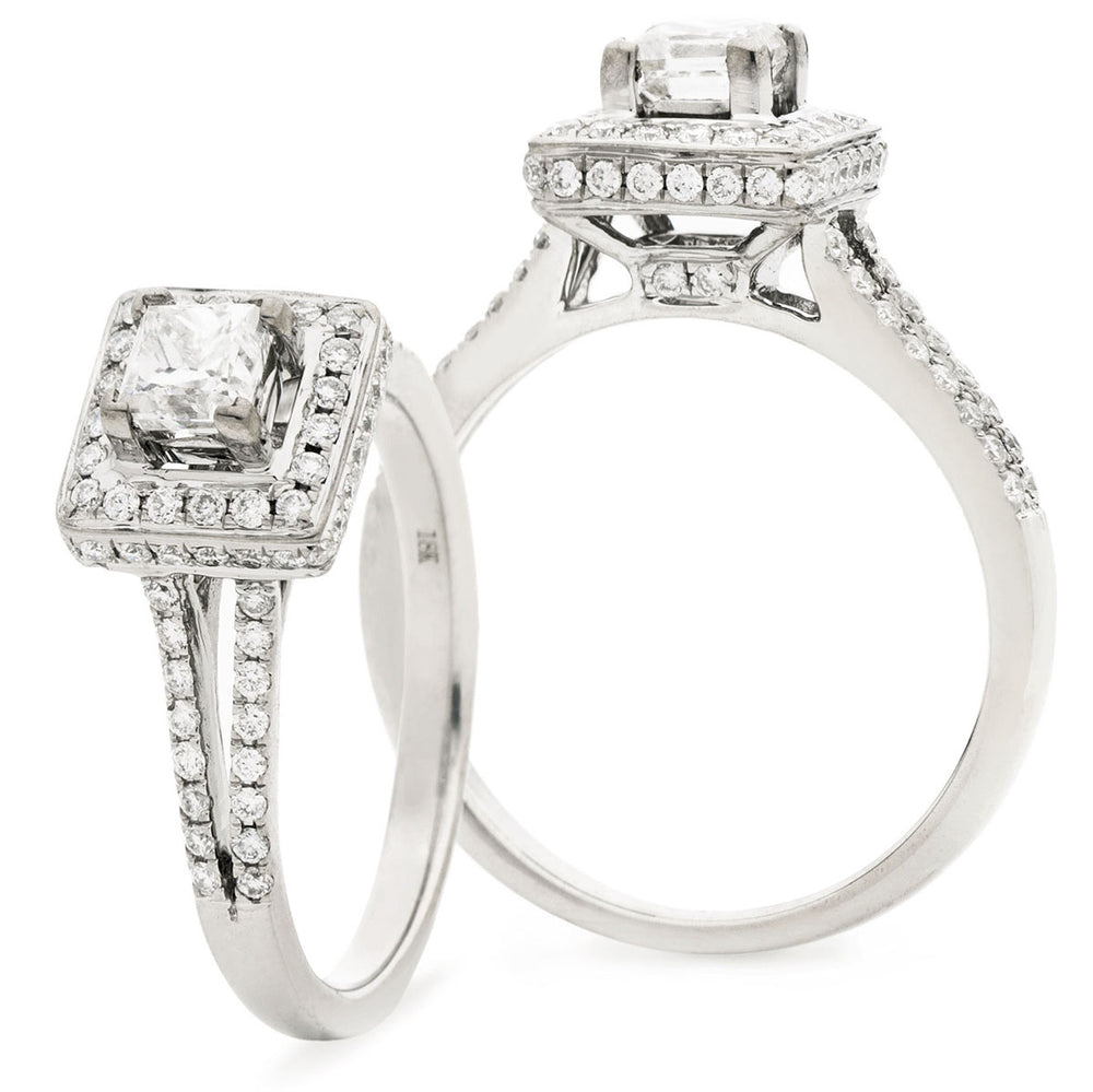 Princess Cut Halo Engagement Ring With Split Shoulders 0.90ct