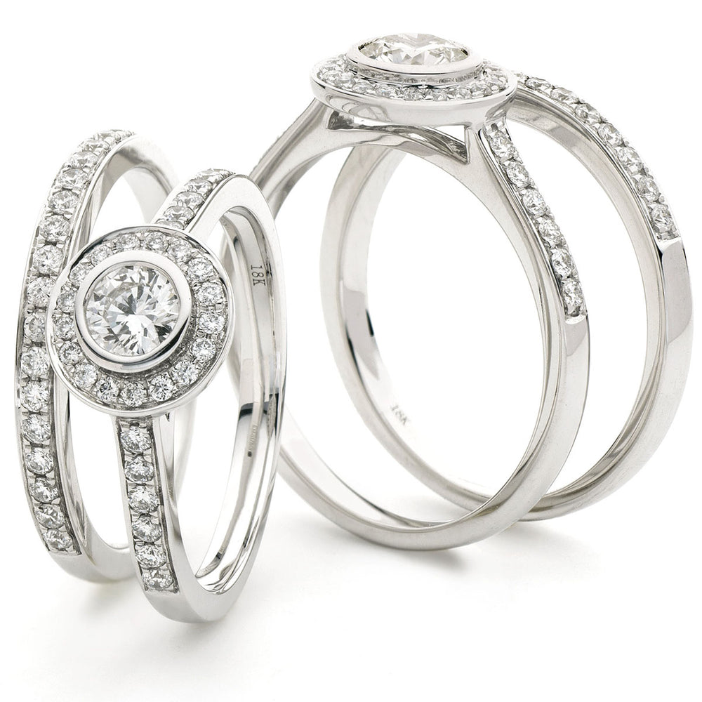 Round Halo Rubover Bridal Set 0.90ct