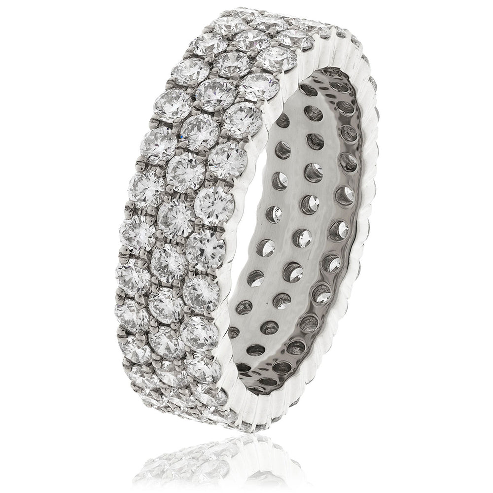Three Row Claw Set Full Eternity Ring 3.00ct