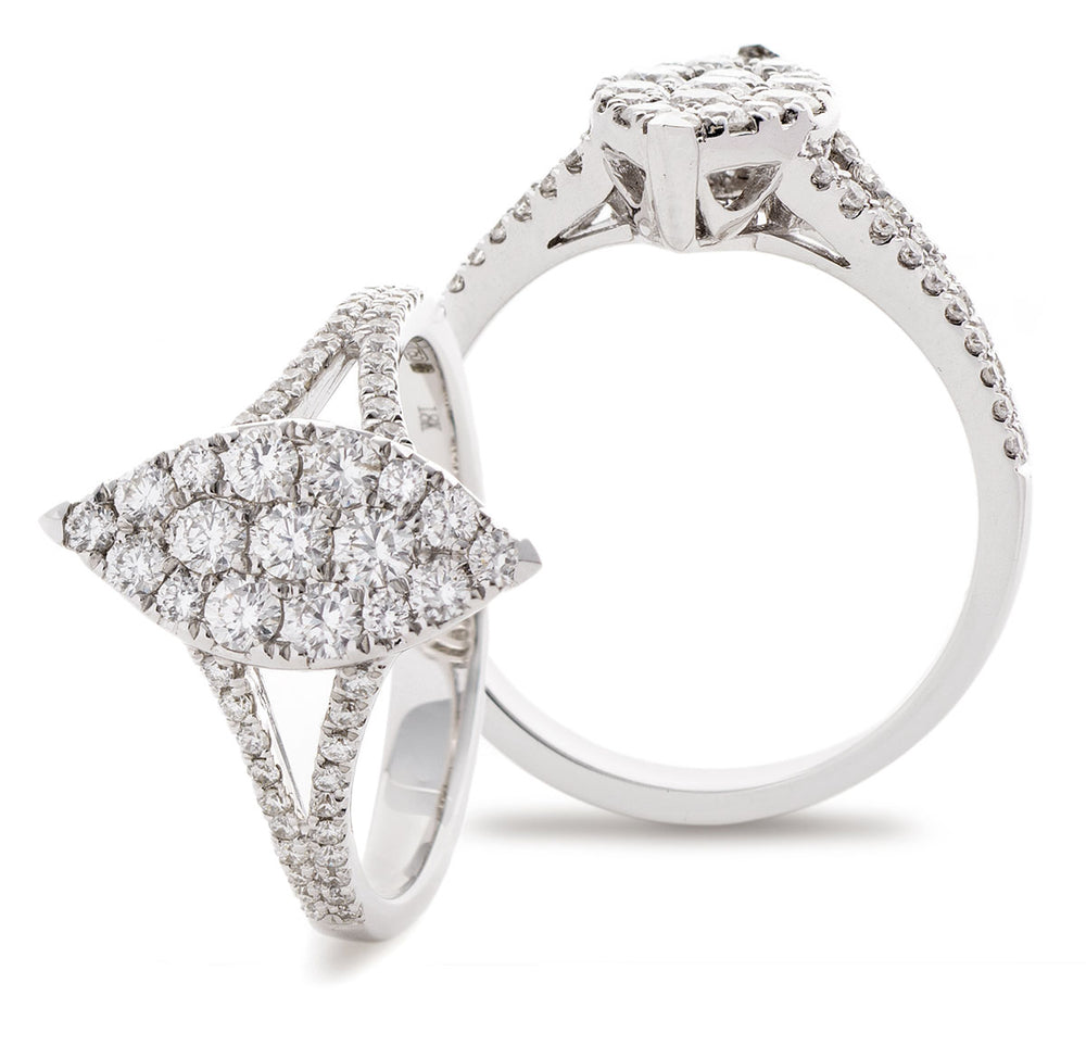 Marquise Shape Cluster Ring with Split Shoulders 0.75ct