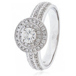 Pavè Set Double Halo Engagement Ring 0.65ct
