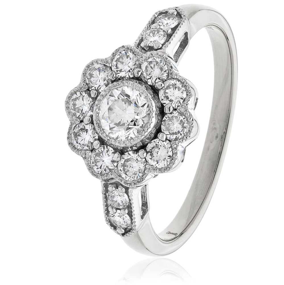 Fifteen Stone Round Diamond Plain Shoulders Deco Cluster Ring 1.25ct