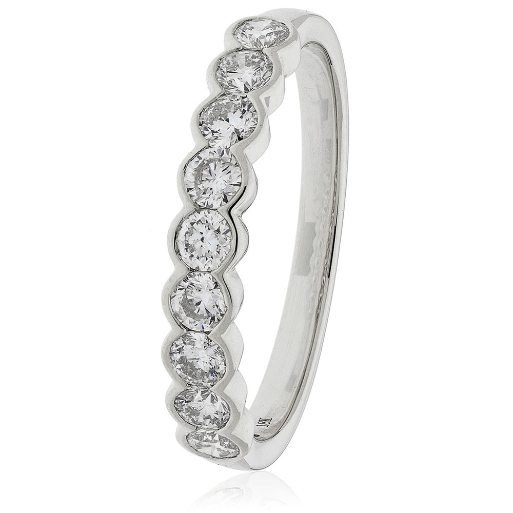 Semi Bezel Set Nine Stone Ring 0.60ct