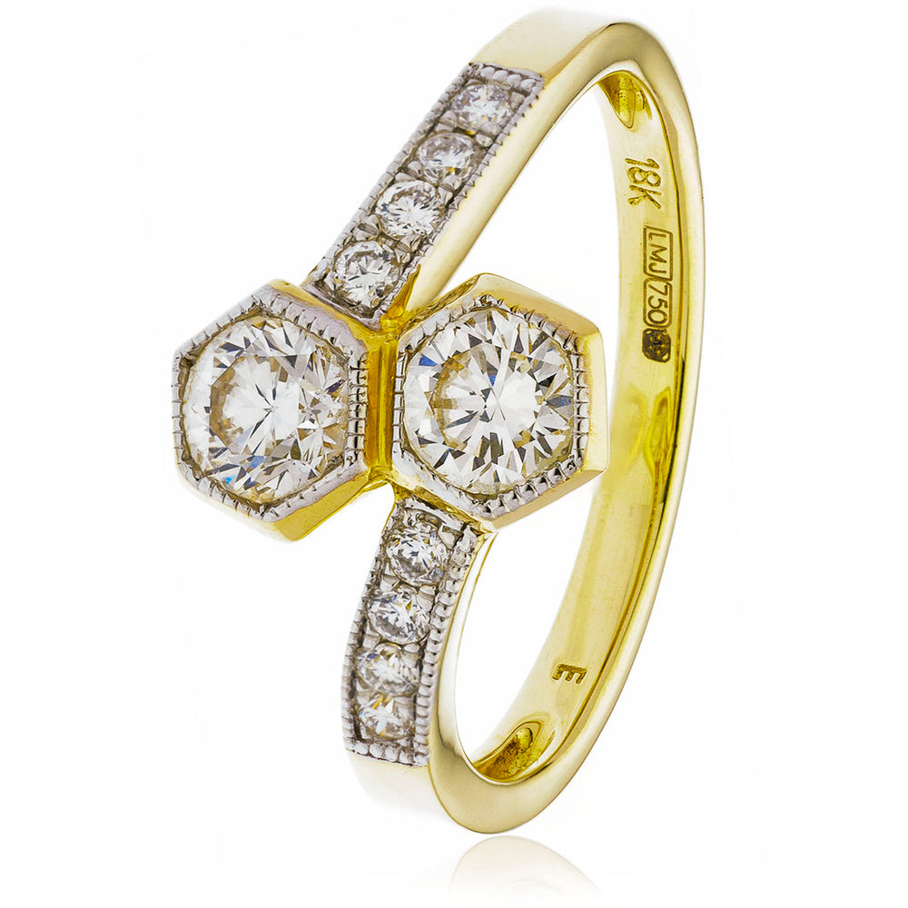 Rubover Set 2 Stone Ring 0.60ct