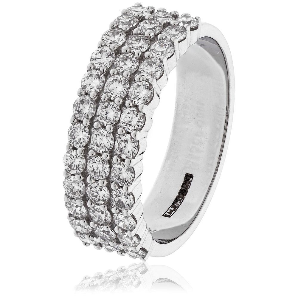 Three Row Round Diamond Half Eternity Ring 1.30ct