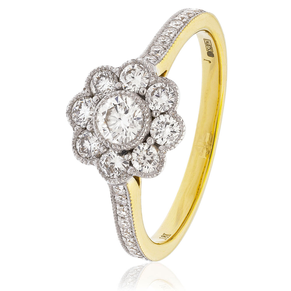 Nine Stone Deco Cluster Ring 0.75ct