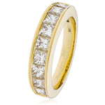 Princess Cut Channel Set Half Eternity Ring 1.75ct