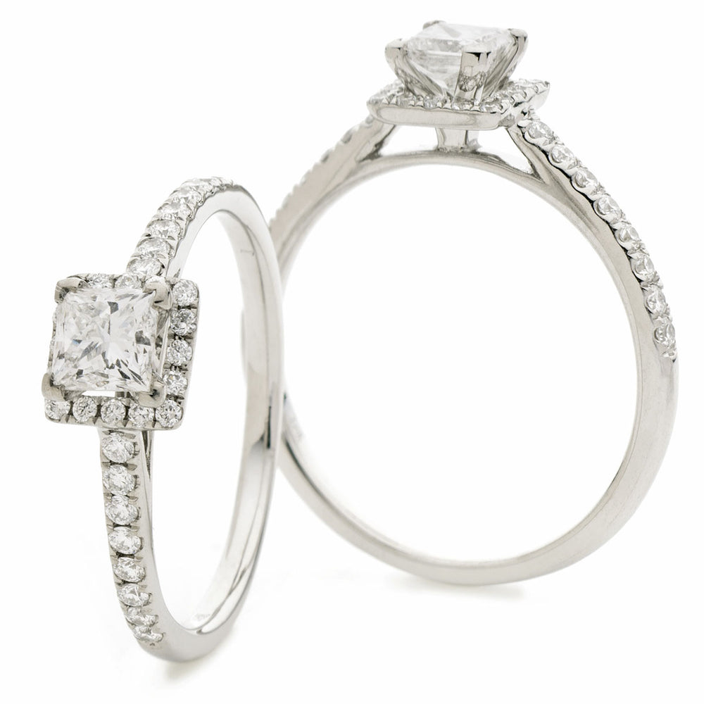Princess Cut Halo Engagement Ring 0.65ct