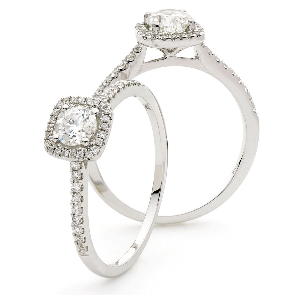 Cushion Shape Shoulder Set Halo Ring 0.65ct