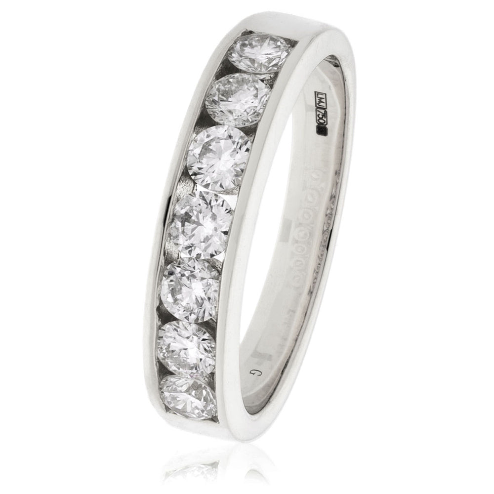 Channel and Grain Set Half Eternity Ring 1.00ct