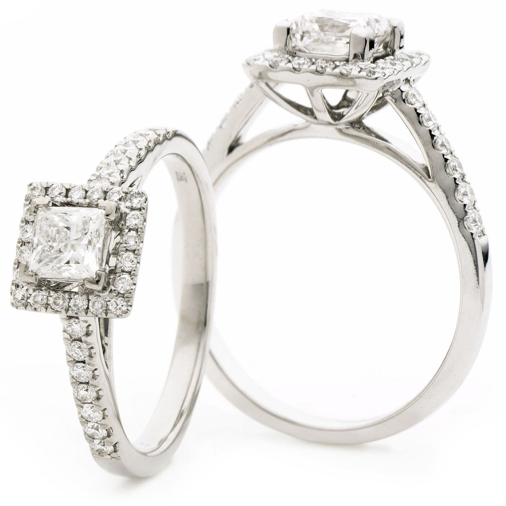 Princess Cut Halo Engagement Ring 1.25ct